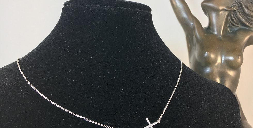 Sideways Silver Cross Necklace