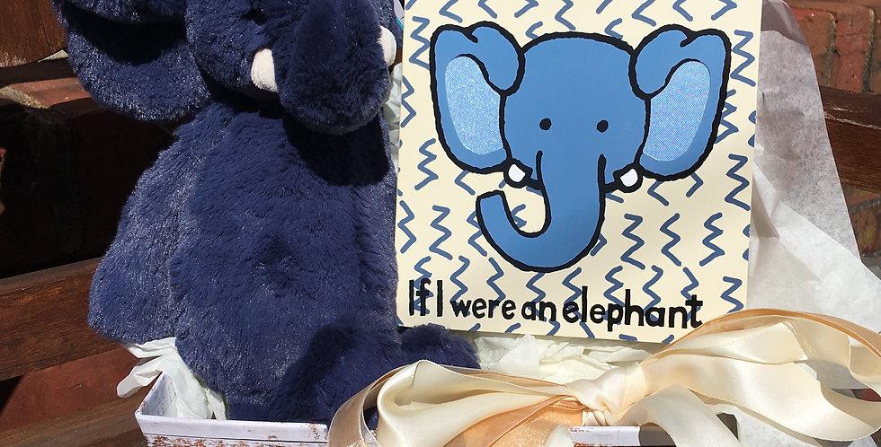 Bashful Blue Elephant Gift Basket