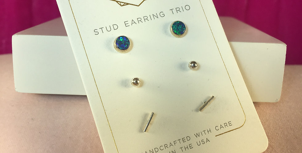Triple Blue Opalescent Stud Silver Set