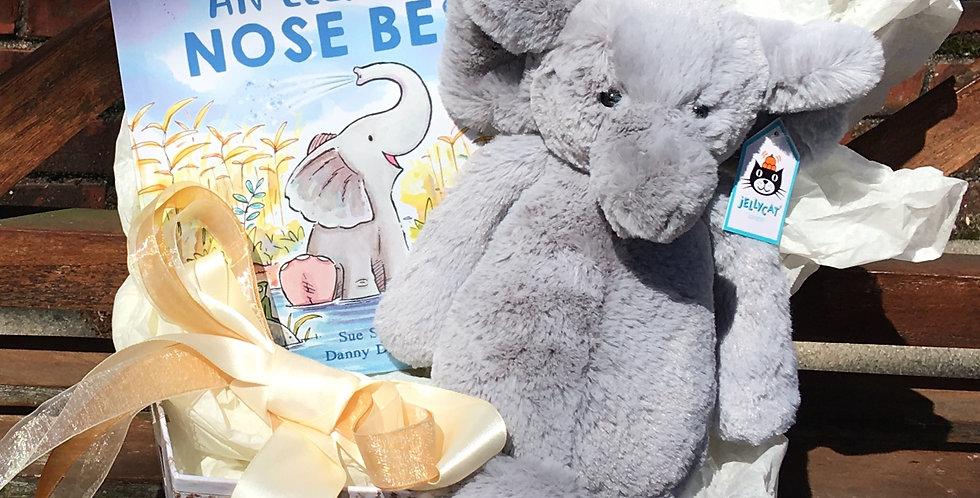 Bashful Grey Elephant Gift Basket