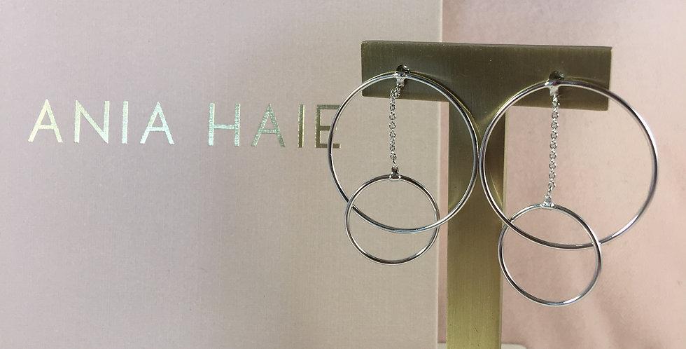 Modern Front Hoop Earrings Silver