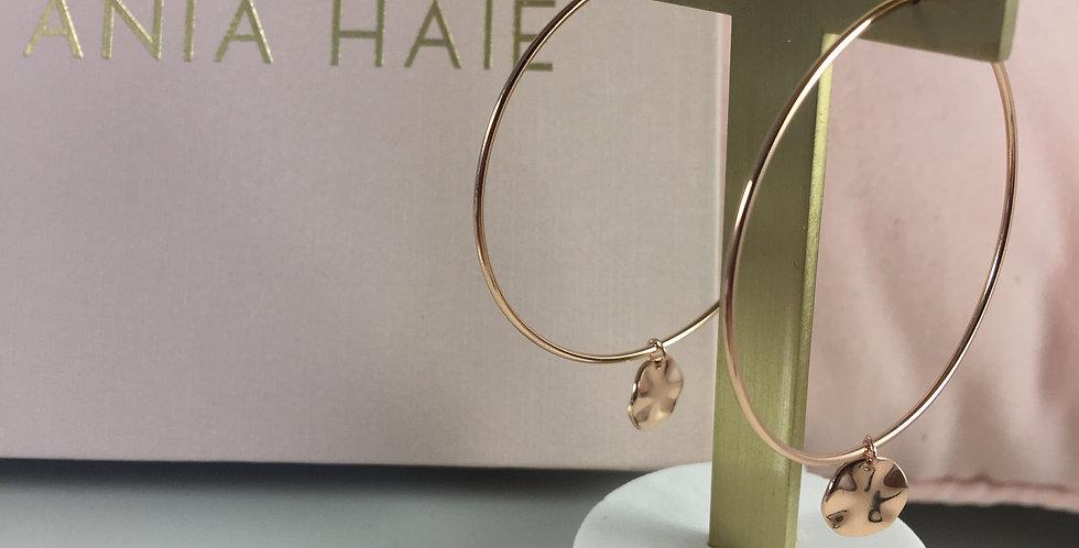 Ripple Hoop Earrings Rose Gold