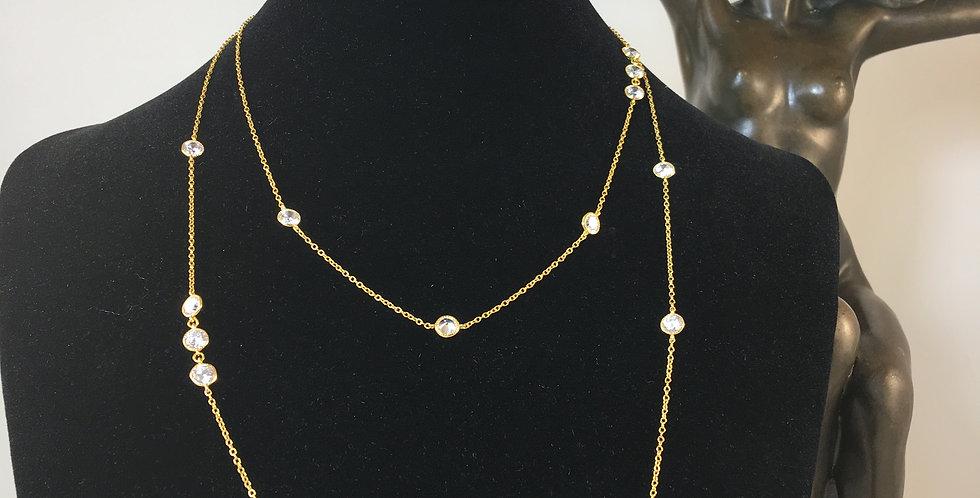 """Multi Diamond Station Gold 36"""" Necklace"""