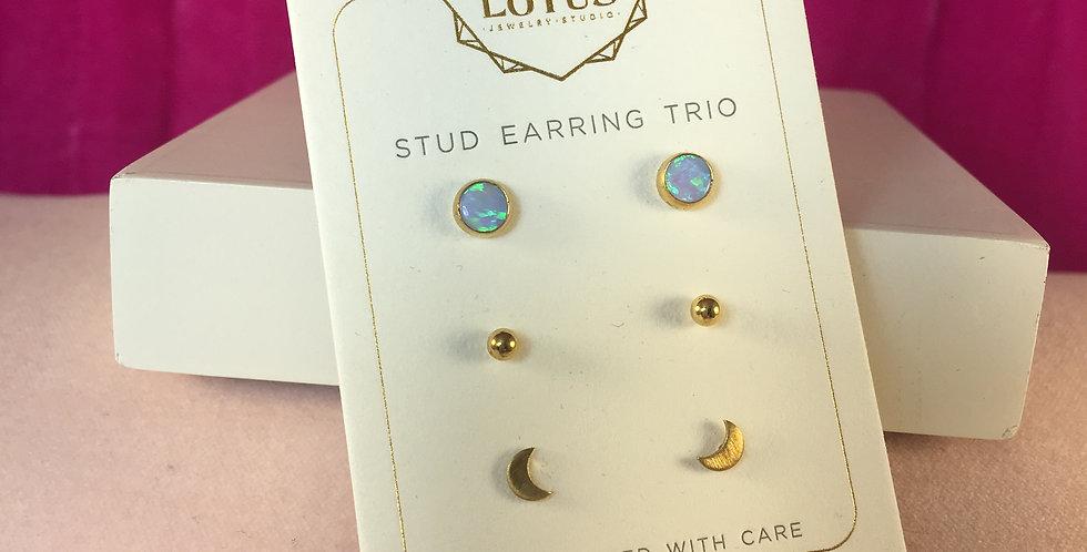 Triple Light Blue Opalescent Gold Stud Set