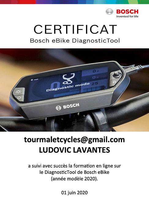 Certificat BOSCH TOURMALET CYCLES