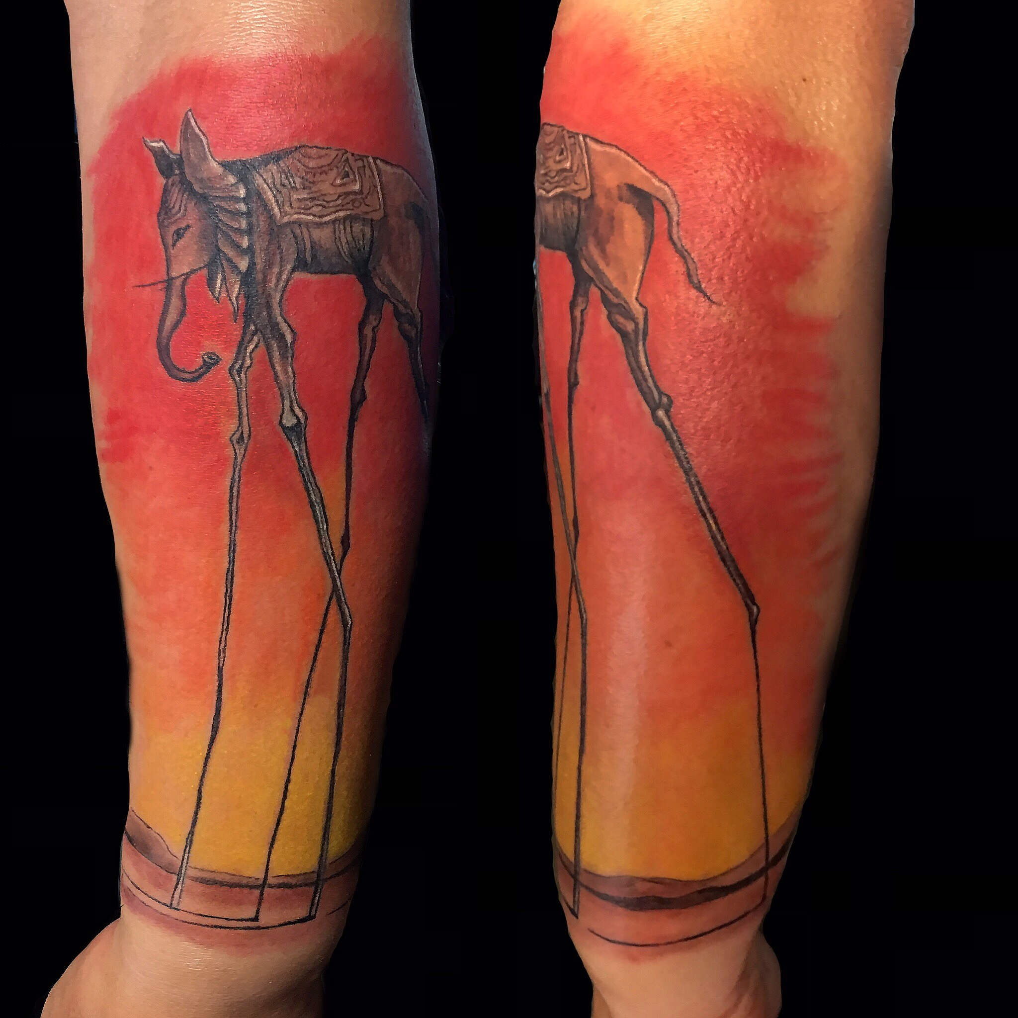 Salvador Dali's Elephant tattoo by Robin Patel