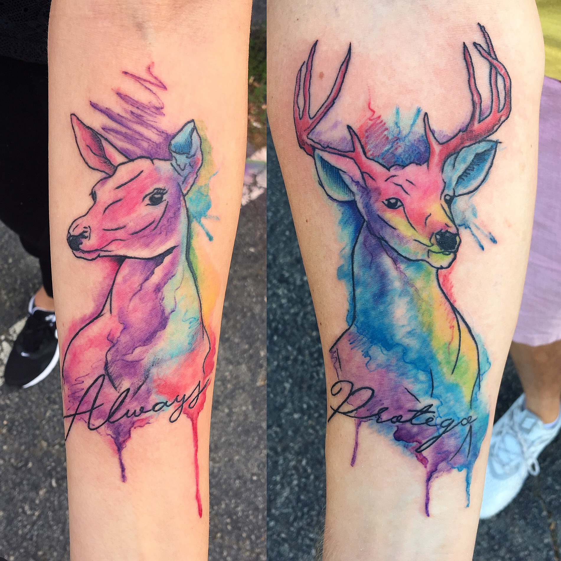 Watercolor colour tattoo deer by Robin p