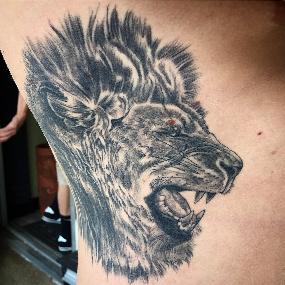 Realistic Lion Tattoo by Robin (Healed)