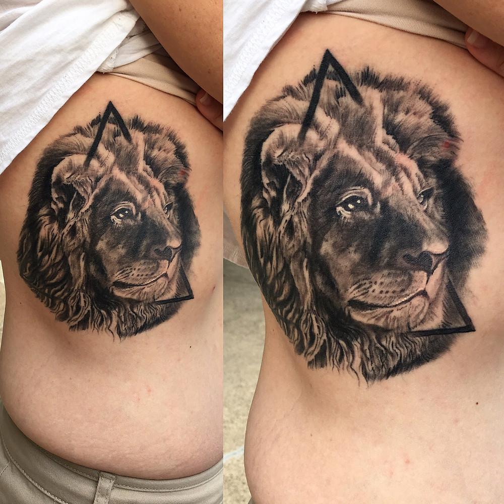 Realistic Lion Tattoo by Robin Patel