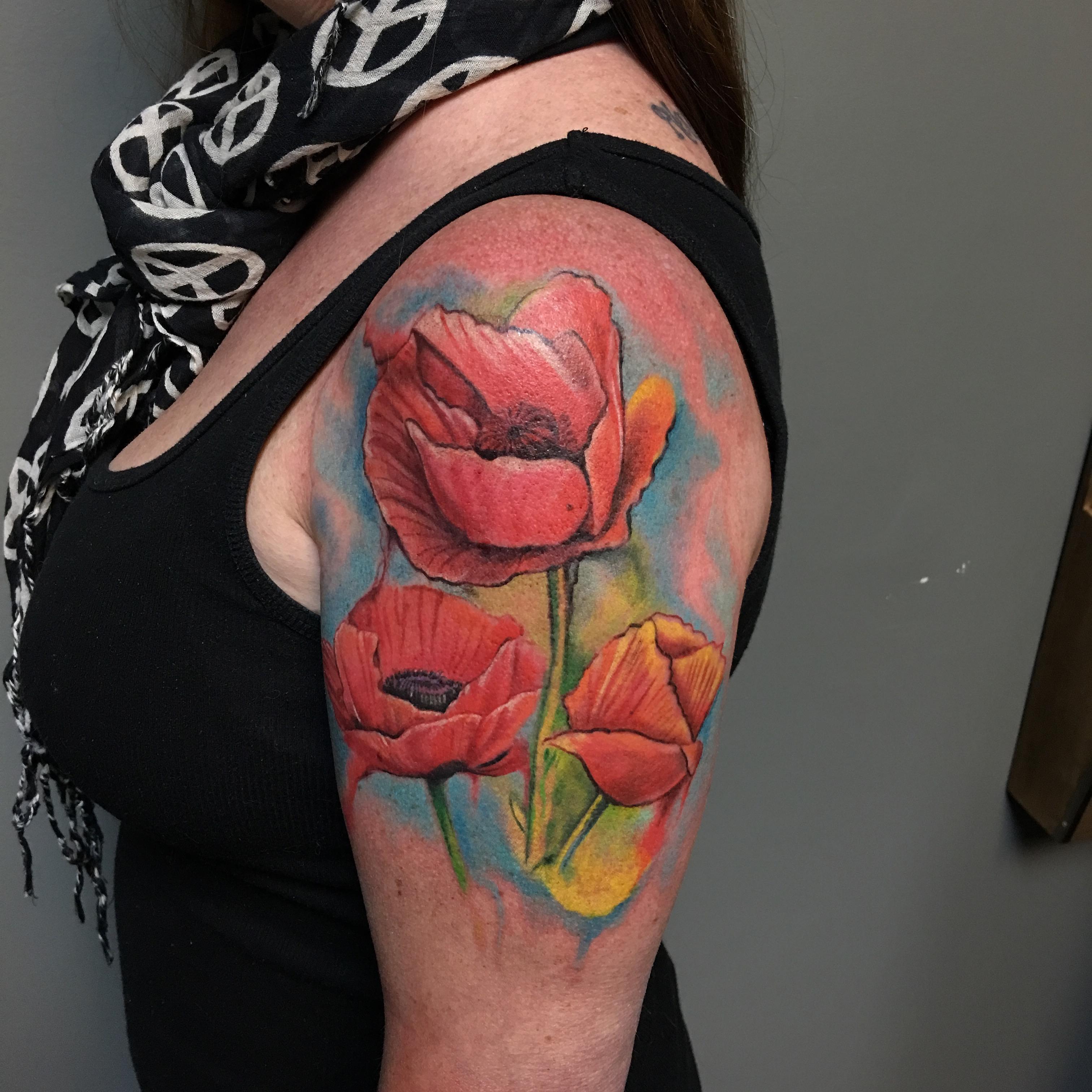 watercolor tattoos poppy