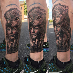 Wolf redindian girl tattoo