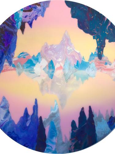 CrystalCity, acrylic and resin on board,