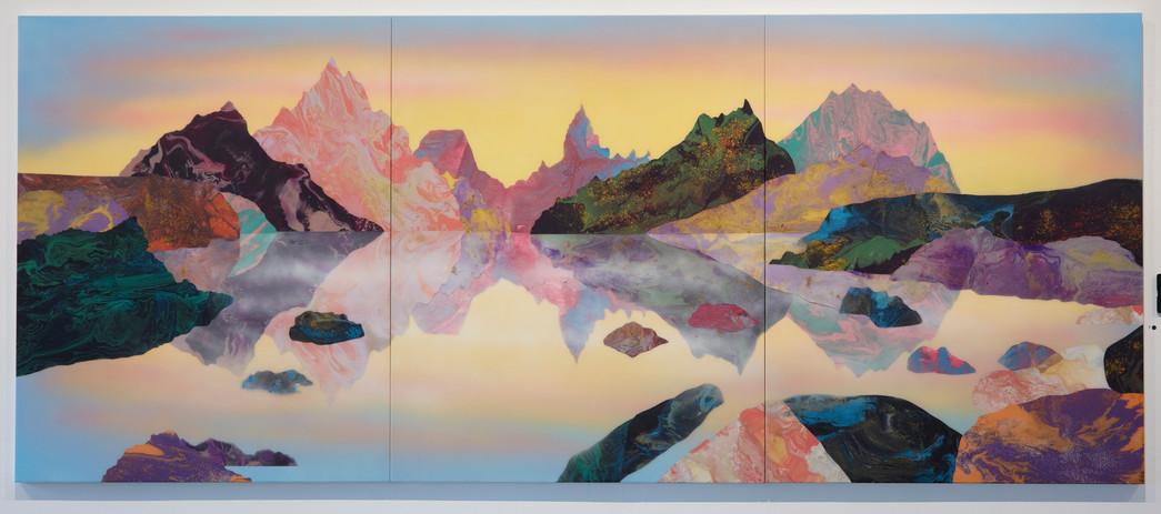 'The Conversation - 1734 Shetland Islands' 150cmx 360cm, acrylic and resin on board, 2018