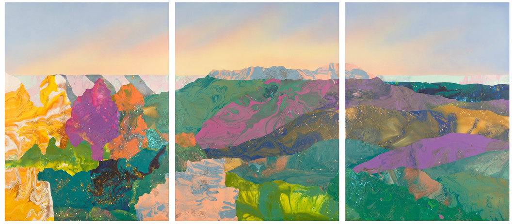 'The Conception - 1969 Blue Mountains' acrylic and resin on board, 120cm x 270cm, 2018