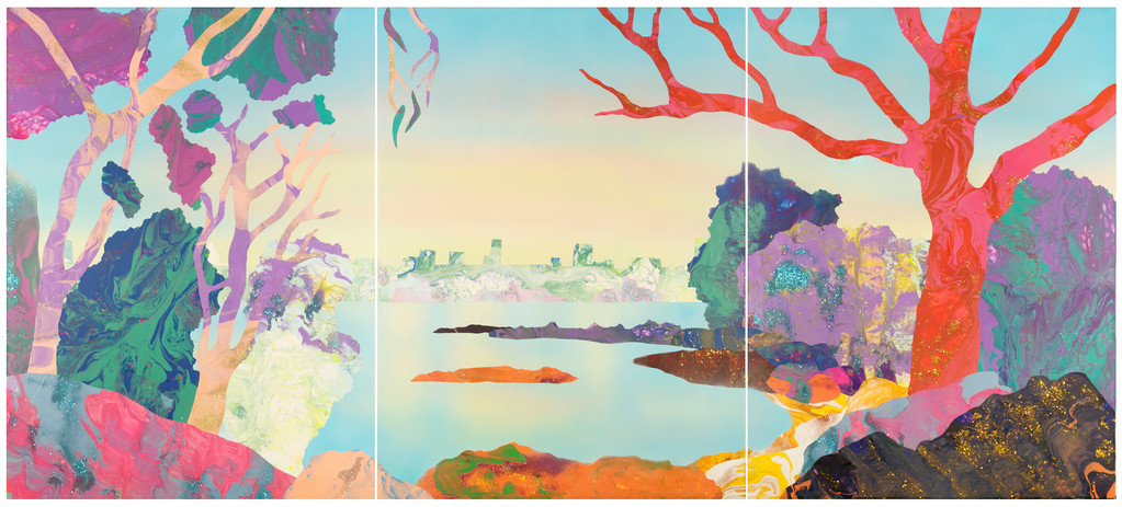 'The Frogs - 1971 Point Piper' 120cm x 270cm, acrylic and resin on board, 2018
