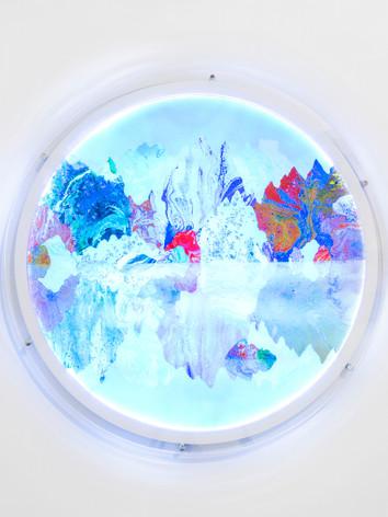 Fordite, lenticular lightbox, 90cm diama