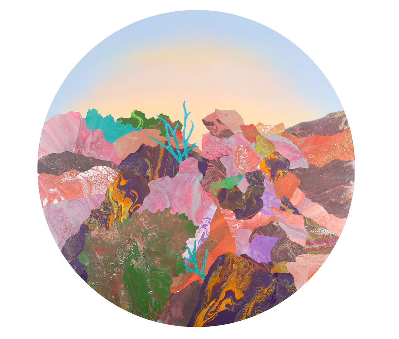 'The Grandparents - 1928 The Gorge' acrylic and resin on board, 120cm diameter, 2018