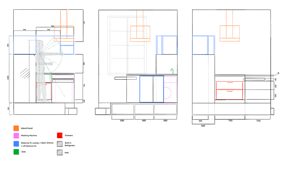 Kitchen Orthographic Drawing