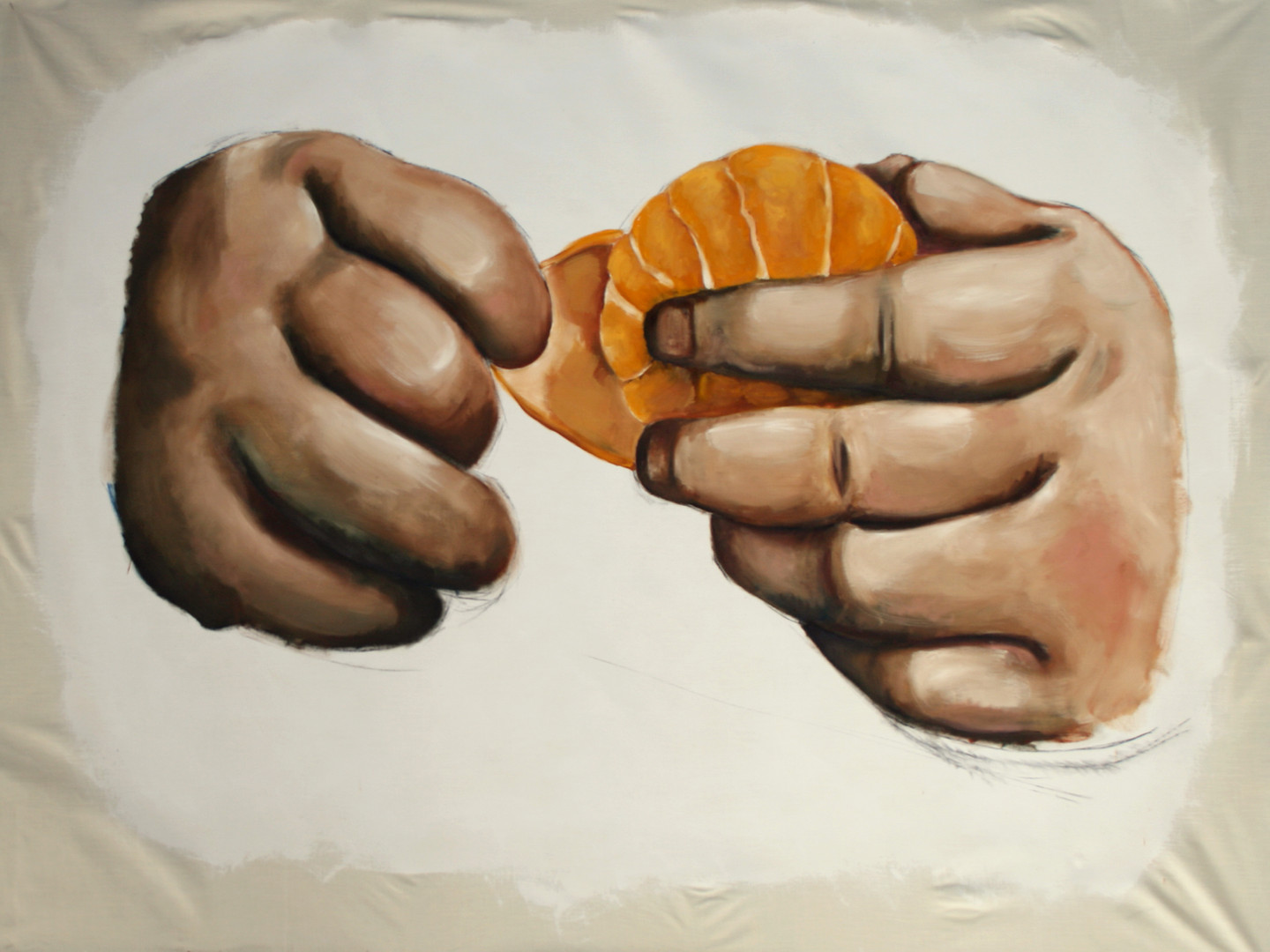 Child's hands with mandarin