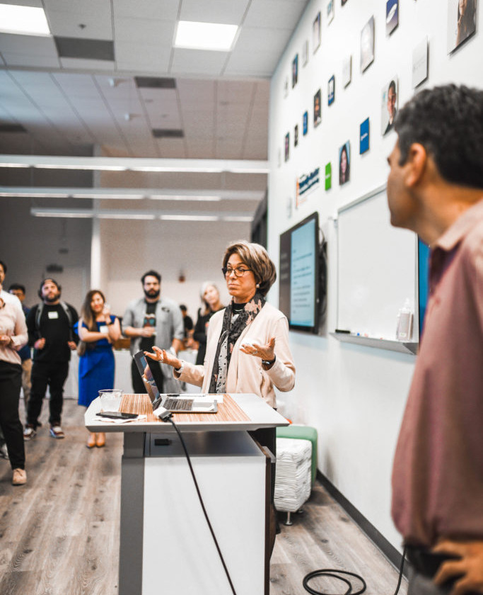 Laura Tyson, Faculty Director of Institute for Business and Social Impact at Haas School of Business and Ikhlaq Sidhu, Chief Scientist and Founder of Sutardja Center for Entrepreneurship & Technology, welcome the Spring Batch of the newly launched Berkeley Blockchain Xcelerator.