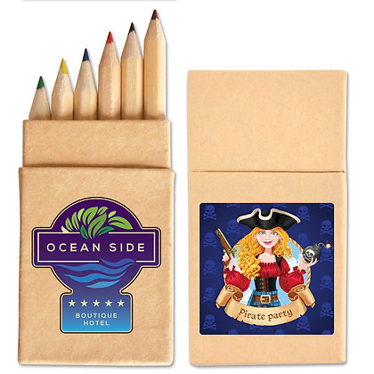 Mini Coloured Pencils in Cardboard Box