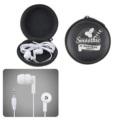 Earbud / Headphone Set in Round EVA Zippered Case