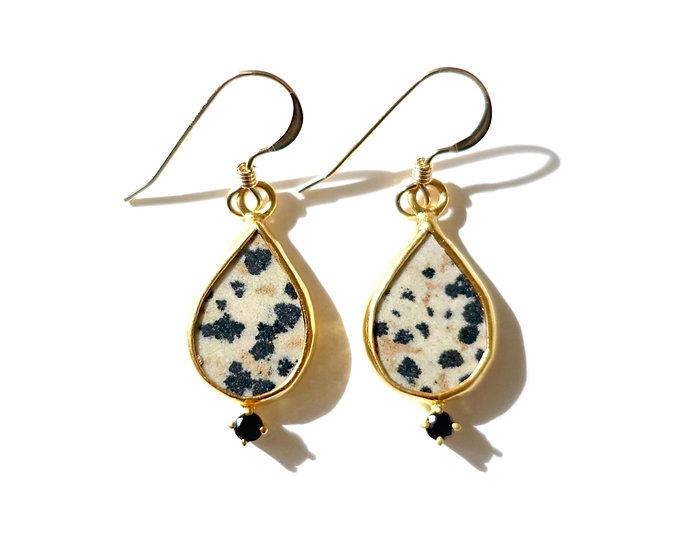 The Taji earrings (Dalmatian Jasper)