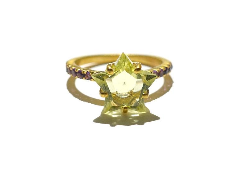 The Taji ring (Star Lemon Quartz)