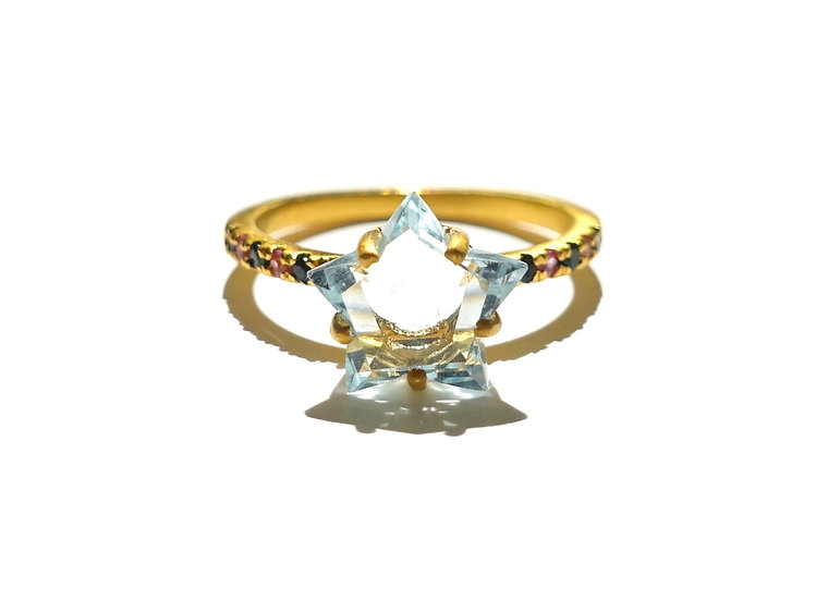 The Taji ring (Star Sky Blue Topaz)