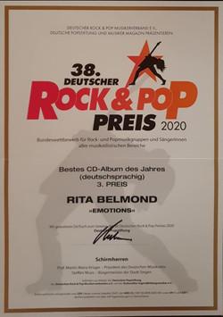3. Preis Bestes CD Album des Jahres (deutschsprachig) Emotions