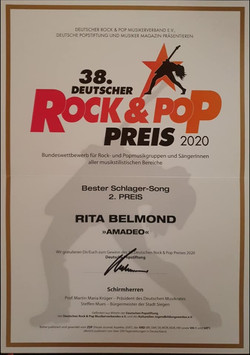 2. Preis Bester Schlager-Song (Amadeo)