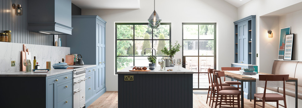 Baystone Stone in-frame kitchen Blue