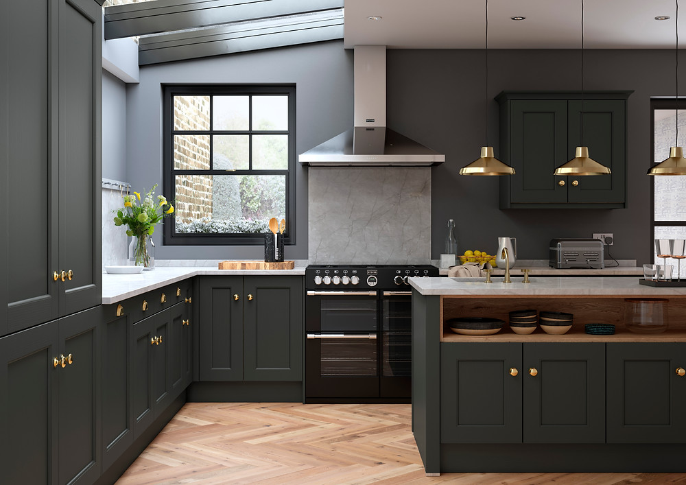 Using a moody colour scheme, dressed with marble & gold accessories for a contemporary shaker kitchen