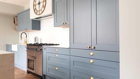 Light blue shaker kitchen