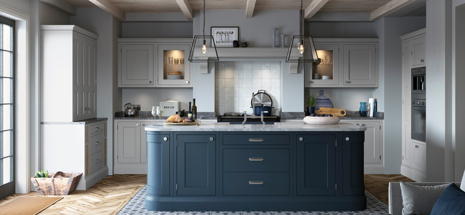 Baystone in-frame kitchen Light Grey & Dark Blue