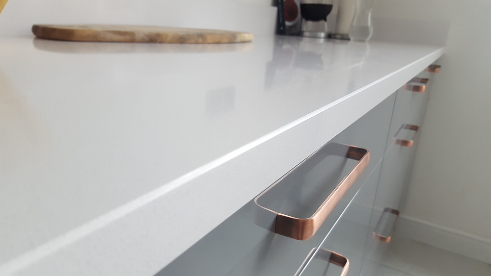 "Silestone ""White Storm"" quartz worktops"