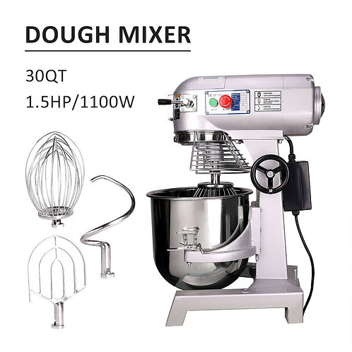 Commercial Dough Food Mixer 30 Quart 3 Speed 1100W Pizza Bakery Food Processor