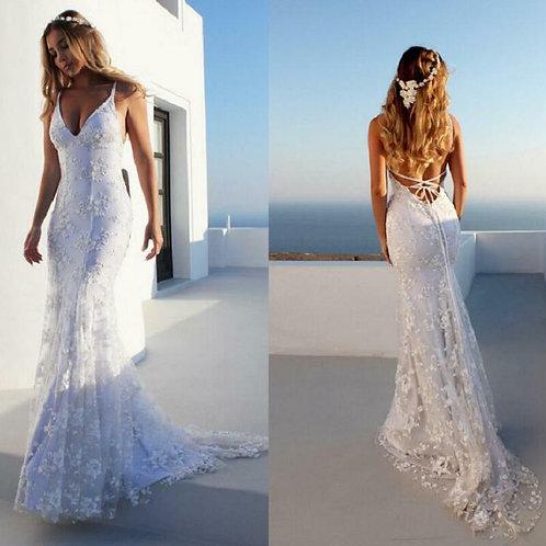 New Mermaid Spaghetti Straps Lace Wedding Dress Backless Beach Bridal Gown