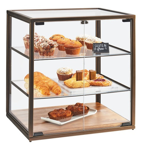 3 Tier Vintage Bakery Display Case with Wood Base