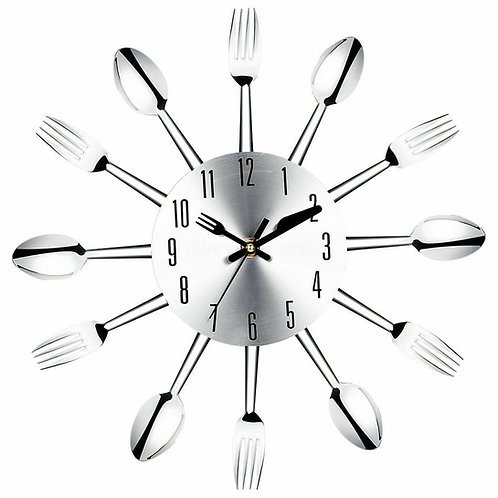 Modern Walls Clock Stainless Steels Spoon And Fork