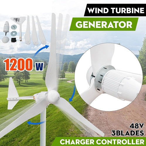 1200W Max Power 3 Blades DC48V Wind Turbine Generator Kit With Charge Controller
