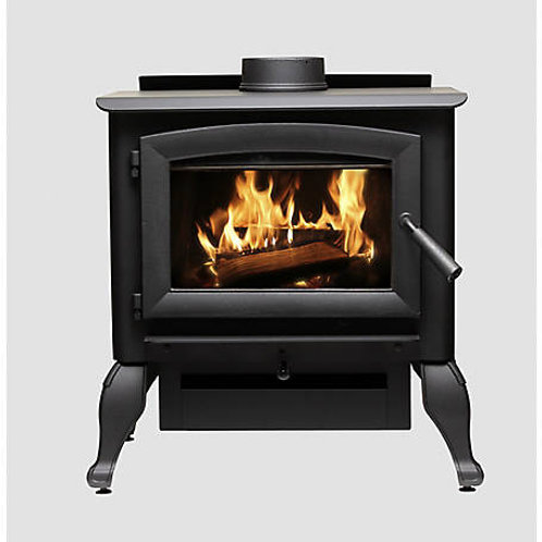 Heats  2,500 Sq. Ft. Wood Burning Stove with Cast Iron Legs