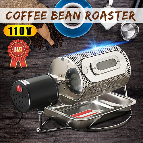 110V Stainless Steel Coffee Bean Roasting Machine Coffee Roaster Roller Baker