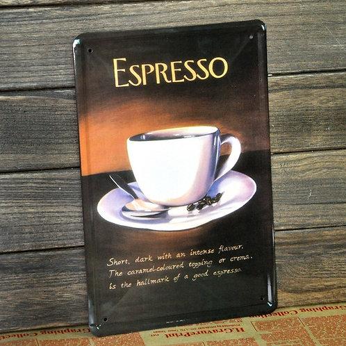 Espresso cafe vintage metal poster