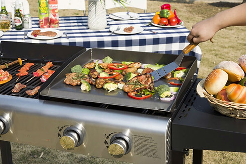 BBQ 4 Burner Gas Propane Grill Griddle Combo  Foldable