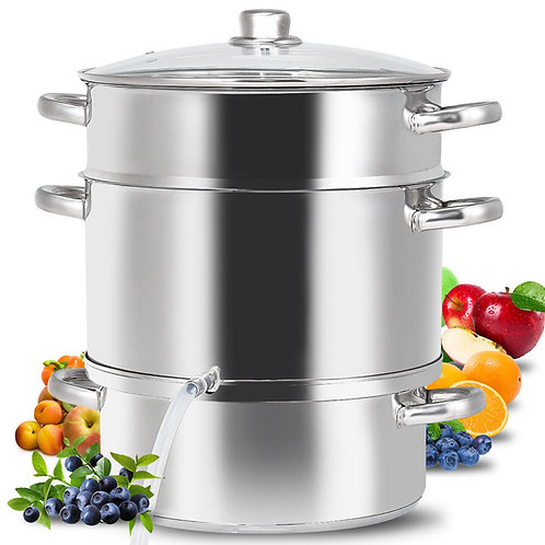 11-Quart Stainless Steel Fruit Juicer Steamer Stove Top w/ Tempered Glass Lid