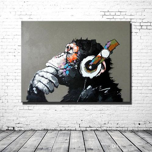 Gorilla in Headphones Oil Painting