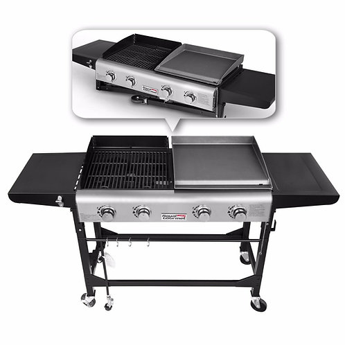 Gourmet BBQ 4 Burner Gas Propane Grill Griddle Combo Camping Foldable