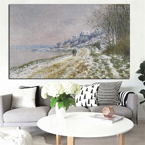 Print Canvas Wall Art Claude Monet Winter Landscapes Impressionist Oil Painting