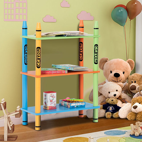 3 Tiers Kids Bookshelf Crayon Themed Storage Bookcase Shelves Toddler Colorful